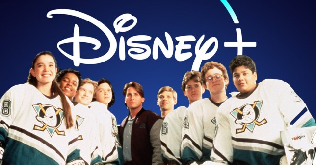 A still from The Mighty Ducks and the Disney+ logo