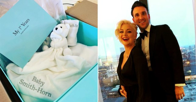 Sheridan Smith and fiance Jamie Horn, and a baby blanket