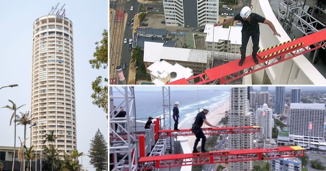 I'm A Celebrity prepares for the high-rise challenge as the show erects two HUGE planks on top of a 32-storey building in Australia