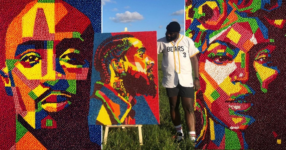 Artist featured with the portraits he makes using Skittles