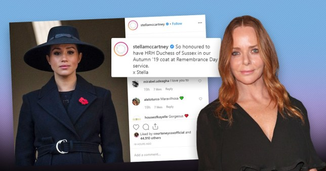 Meghan Markle wearing Stella McCartney dress shared on Instagram page by the designer, also pictured