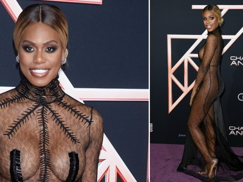 Laverne Cox rocks naked illusion gown at Charlie's Angels premiere and gives us life