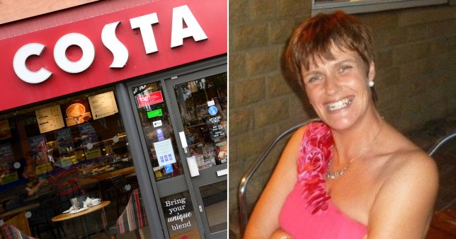 Picture of a Costa Coffee store and Lisa Mckavett, who ranted on Facebook about a chain in Burnley, Lancashire not giving free drinks to her poppy-selling mum