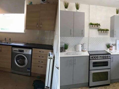 Mum transforms kitchen cabinets, tiles and worktops for £200