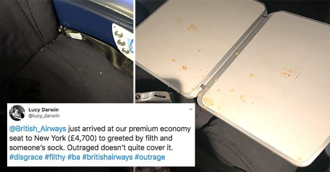 Lucy Darwin was outraged at the state she found her seat in on British Airways