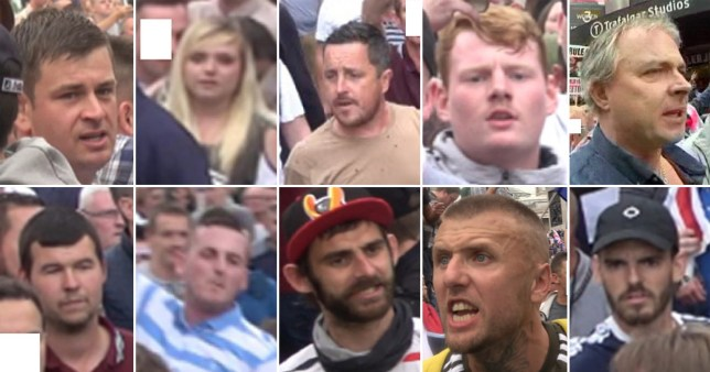 Police want help identifying these 'Free Tommy Robinson' protesters (Picture: PA)