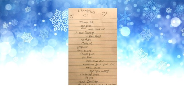 Christmas Wishlist Newspaper 2020 10 year old's hilarious Christmas wish list has people creasing
