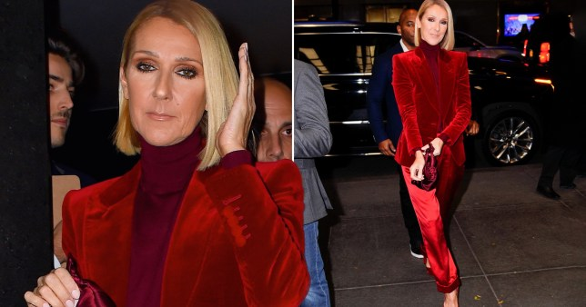 Celine Dion steps out of NYC hotel in head-to-toe red outfit
