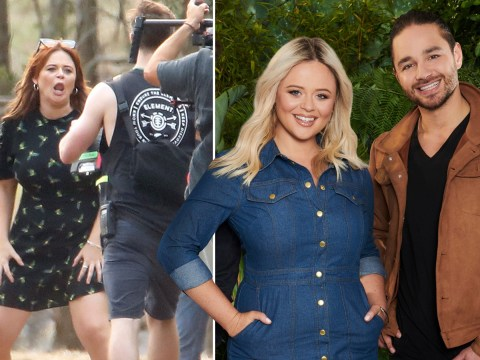I'm A Celeb 2019: Emily Atack pulls some wild faces as she gets stuck into Extra Camp with Adam Thomas