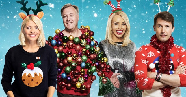 Holly Willoughby, Ed Balls, Katie Piper and James Blunt for Save The Children Christmas Jumper Day