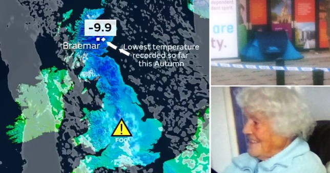 Five people have died within 24 hours as the UK sees it's coldest autumn weather yet
