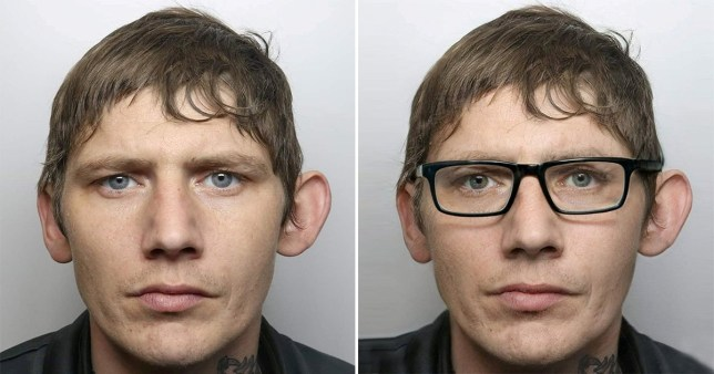 Wanted man caught after glasses disguise failed to hide his big ears and tattoo