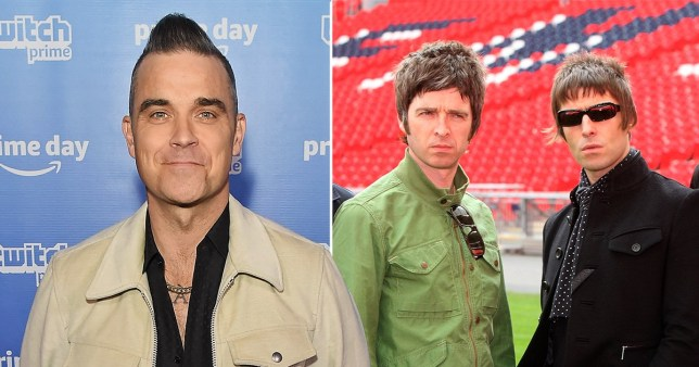 Robbie Williams and Oasis' Liam and Noel Gallagher