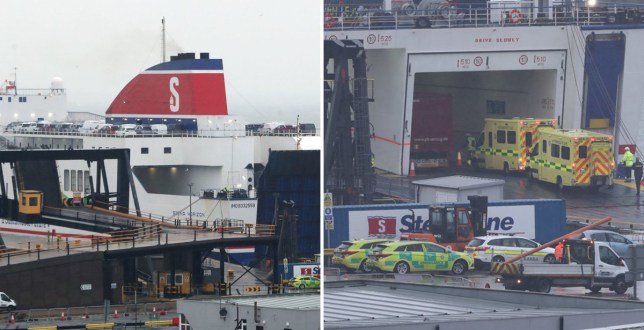 Emergency personnel at Rosslare Europort, Co Wexford, awaiting the arrival of a Stena Line ferry (Picture: PA)
