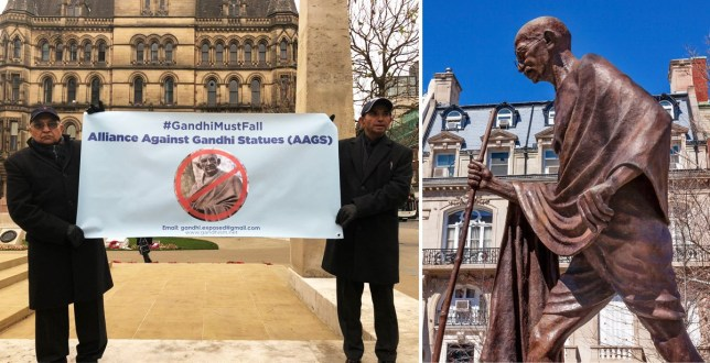 Protesters outside Manchester City Council's office and a statue of Mahatma Gandhi