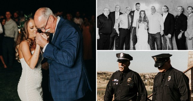 Kourtney with the men who danced with her and the police officers walking behind her down the aisle (Picture: ROGUE Film CO/PA)