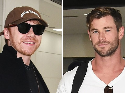 Harry Potter star Rupert Grint and Chris Hemsworth are all smiles as they arrive in Tokyo
