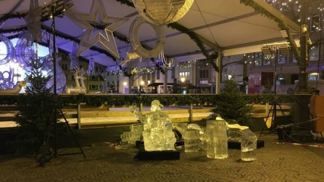 Child dies from injuries after being struck by a collapsed ice sculpture at Knuedler market
