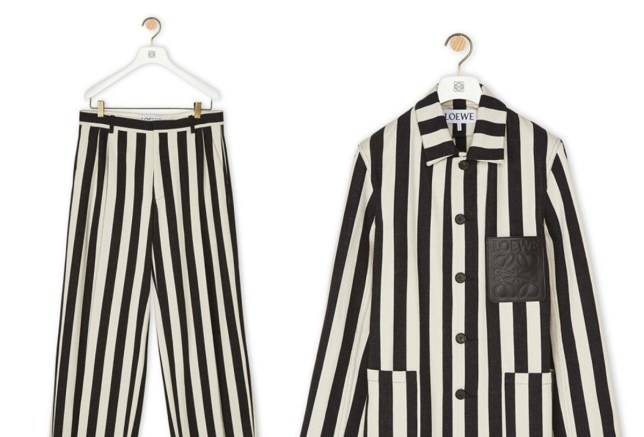 Outfit from Loewe that has been likened to outfits worn by Holocaust victims, it is white and black with vertical stripes and a black pocket