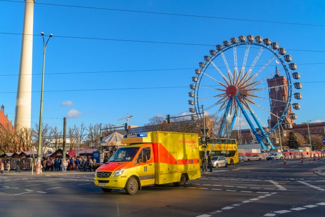 Berlin, Germany - December 02, 2016: An ambulance in the streets of Berlin.