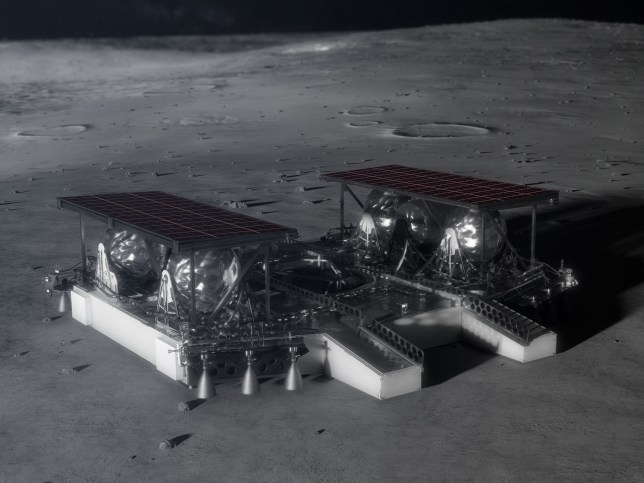 Undated handout photo issued by Nasa of their 'pallet lander concept' as the American space agency races to put astronauts back on the moon by 2024. PA Photo. Issue date: Tuesday November 26, 2019. The mid-sized lander would be used to deliver a 300 kilogram rover and payload for exploring the polar regions of the moon. See PA story SCIENCE Nasa. Photo credit should read: NASA/PA Wire NOTE TO EDITORS: This handout photo may only be used in for editorial reporting purposes for the contemporaneous illustration of events, things or the people in the image or facts mentioned in the caption. Reuse of the picture may require further permission from the copyright holder.