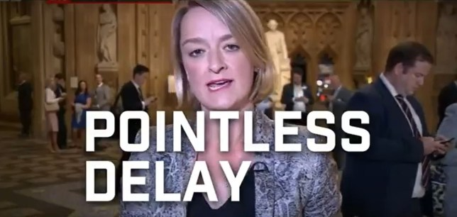 "Handout screengrab dated 27/11/2019 issued by the Conservative Party of an edited clip of BBC political editor Laura Kuenssberg saying ""pointless delay to Brexit"", as the BBC has asked the Conservative Party to remove online adverts which use edited versions of its content. PA Photo. Issue date: Thursday November 28, 2019. See PA story POLITICS Election Tories Advert. Photo credit should read: Conservative Party/PA Wire NOTE TO EDITORS: This handout photo may only be used in for editorial reporting purposes for the contemporaneous illustration of events, things or the people in the image or facts mentioned in the caption. Reuse of the picture may require further permission from the copyright holder."