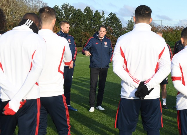 ST ALBANS, ENGLAND - NOVEMBER 30: Arsenal Director Josh Kroenke talks to the players and staff before a training session at London Colney on November 30, 2019 in St Albans, England. (Photo by Stuart MacFarlane/Arsenal FC via Getty Images)