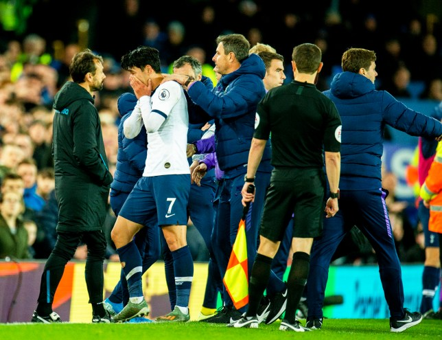 Son comforted by Spurs coach after Everton red card