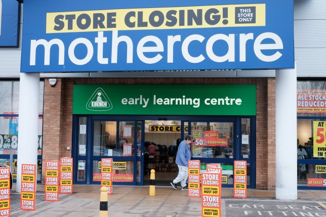 A branch of Mothercare in Colliers Wood, London, which is closing down. Photo credit should read: Katie Collins/EMPICS