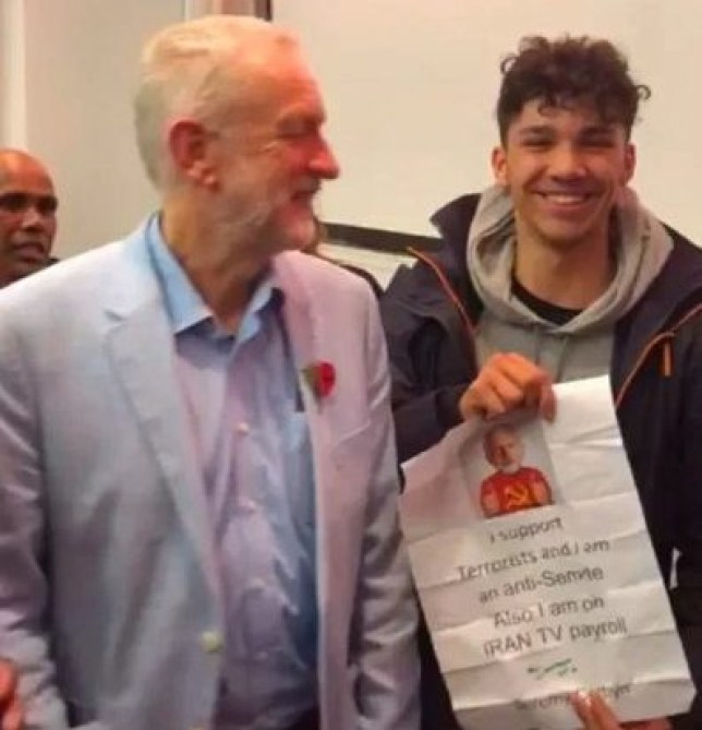 Thomas Chambers, 15, dupes Jeremy Corbyn into signing paper which says I am an anti-Semite (Picture: The Sun)