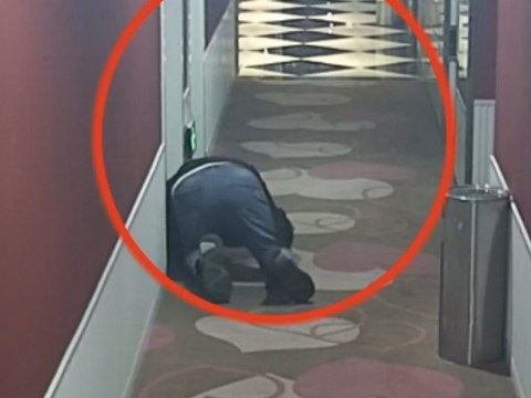 Man pictured crawling through hotel to listen to people having sex
