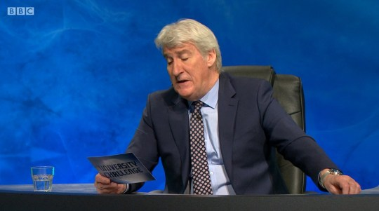 Jeremy Paxman said 'perfect cleavage' on University challenge