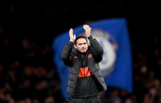 Chelsea's head coach Frank Lampard applauds to supporters at the end of the Champions League match with Ajax