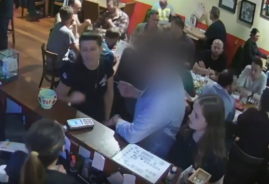 8.30pm: the pair (seen stood at right-hand end of the bar) were paying after spending an hour at the Mexican Cafe. Undated handout cctv grab issued by Auckland City Police of Grace Millane (right) at The Mexican Cafe in Auckland with the 27-year-old male who is accused of her murder. PA Photo. Issue date: Thursday November 7, 2019. The male defendant, who cannot be named for legal reasons is on trial accused of strangling the British backpacker from Wickford, Essex, during rough sexual intercourse at his apartment in the centre of the city on either December 1 or December 2, 2018, the date of Ms Millane's 22nd birthday. See PA story COURTS Millane. Photo credit should read: Auckland City Police/PA Wire NOTE TO EDITORS: This handout photo may only be used in for editorial reporting purposes for the contemporaneous illustration of events, things or the people in the image or facts mentioned in the caption. Reuse of the picture may require further permission from the copyright holder.