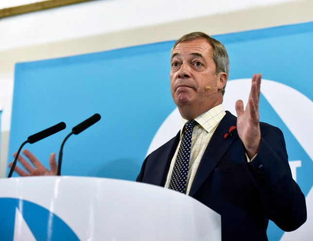 epa07981300 Brexit Party Leader Nigel Farage speaks during his general election campaign in Pontypool, South Wales, Britain, 08 November 2019. British Prime Minister Boris Johnson has called a general election for 12 December 2019. EPA/NEIL MUNNS