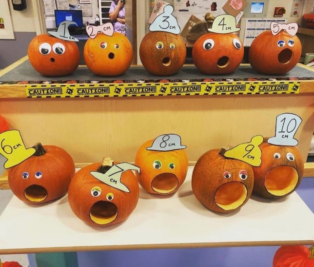 Horrifying pumpkins show stages of dilation during childbirth. Set up by midwives at the Royal Oldham Hospital in Lancashire, England as part of a pumpkin decorating competition.