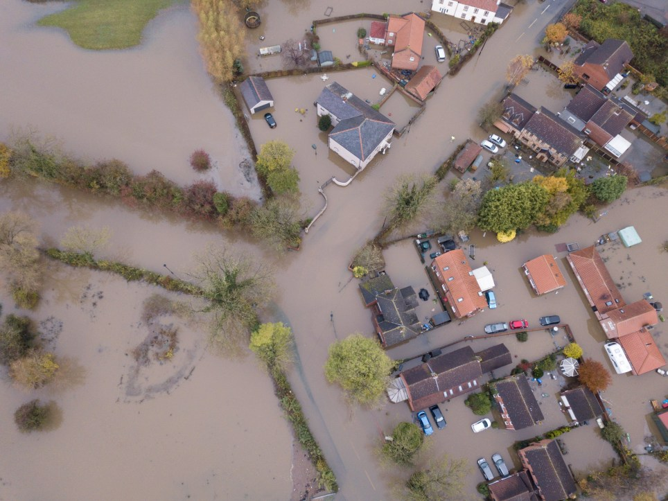 Aerial view of the village of Fishlake, Doncaster, which is still cut off and without power. November 11, 2019. A Severe Flood warning is in place for the village and surrounding areas as rain fell overnight with more forecasted for this week. See SWNS story SWLEflood.