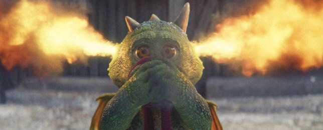 A photo of the animated character Edgar the dragon with fire coming out of his ears from the John Lewis Christmas advert 2019