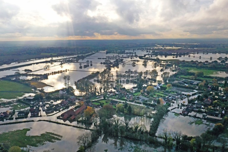 The flood water at Fishlake, in Doncaster, South Yorkshire, as parts of England endured a month's worth of rain in 24 hours, with scores of people rescued or forced to evacuate their homes. PA Photo. Picture date: Wednesday November 13, 2019. See PA story WEATHER Rain. Photo credit should read: Richard McCarthy/PA Wire