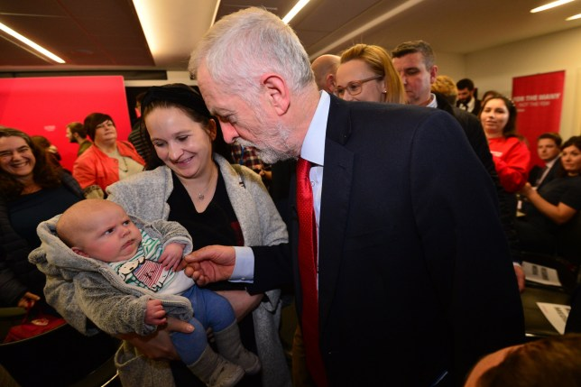 LANCASTER, ENGLAND - NOVEMBER 15: Labour leader Jeremy Corbyn meets Colin (surname unknown) and mother after a speech at the University of Lancaster on November 15, 2019 in Lancaster, England. The Labour leader has announced a major new digital infrastructure policy including free broadband for all. (Photo by Anthony Devlin/Getty Images)