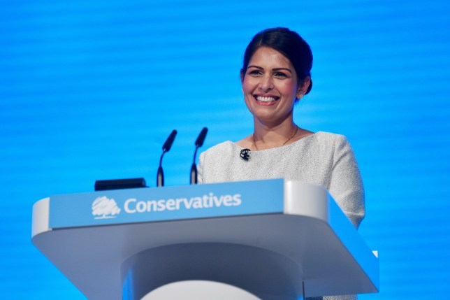 Mandatory Credit: Photo by NEIL HALL/EPA-EFE/REX (10431871ag) Britain's Home Secretary Priti Patel delivers a speech during the Conservative Party Conference in Manchester, Britain, 01 October 2019. The Conservative Party Conference runs from 29 September to 2 October 2019. Conservative Party Conference, Manchester, United Kingdom - 01 Oct 2019