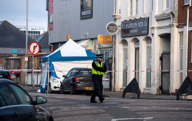 BNPS.co.uk (01202 558833) Pic: PhilYeomans/BNPS Murder scene in St Swithuns Rd, Bournemouth this morning. A murder investigation is underway today after a 20-year-old man was stabbed to death in a seaside town. The man was found with knife wounds in St Swithun's Road, Bournemouth, Dorset, at 10.10pm last night (Sat). An ambulance was called and the victim was rushed to the Royal Bournemouth Hospital where he died a short time later. Police have cordoned off a small white car parked outside a pizza restaurant on St Swithun's Road where the man was found.