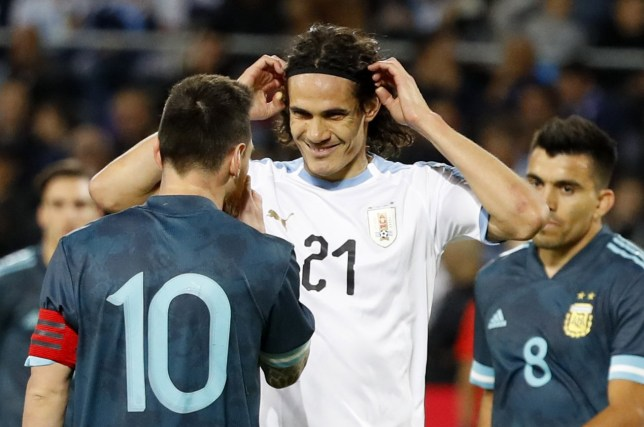Lionel Messi and Edinson Cavani clashed during Argentina's friendly against Uruguay
