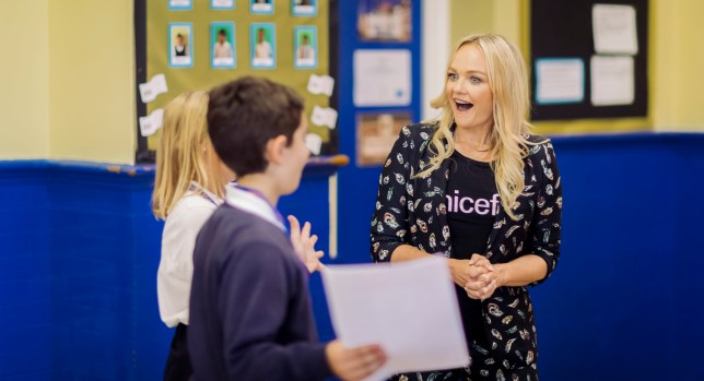 Emma Bunton is a caring queen as she spends the day learning about children's rights