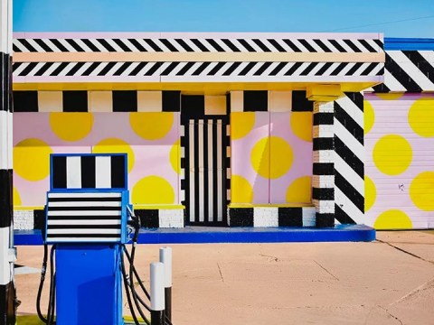 Camille Walala turns an abandoned petrol station into a piece of art