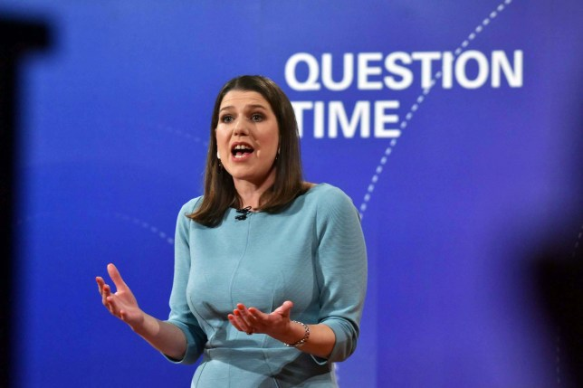 epa08017932 A handout photo made available by BBC shows Liberal Democrats leader Jo Swinson during BBC Question Time leaders' special debate in Sheffield, Britain, 22 November 2019. Britons go to the polls on 12 December 2019 in a general election. EPA/JEFF OVERS / BBC / HANDOUT MANDATORY CREDIT NOTE TO EDITORS: Not for use more than 21 days after issue. HANDOUT EDITORIAL USE ONLY/NO SALES