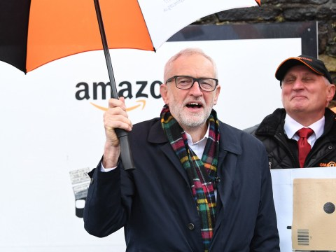 Jeremy Corbyn calls out 'tax and wage cheat culture' outside Amazon depot