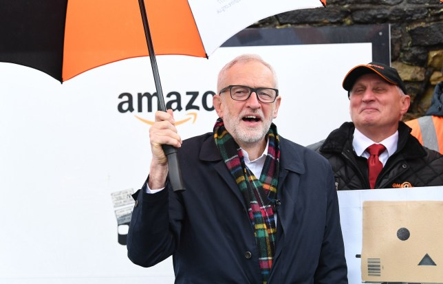 Labour Party leader Jeremy Corbyn outside an Amazon depot in Sheffield, South Yorkshire, to announce plans for a workers' rights revolution and to ensure big businesses pay their fair share of taxes. PA Photo. Picture date: Saturday November 23, 2019. See PA story POLITICS Election. Photo credit should read: Stefan Rousseau/PA Wire