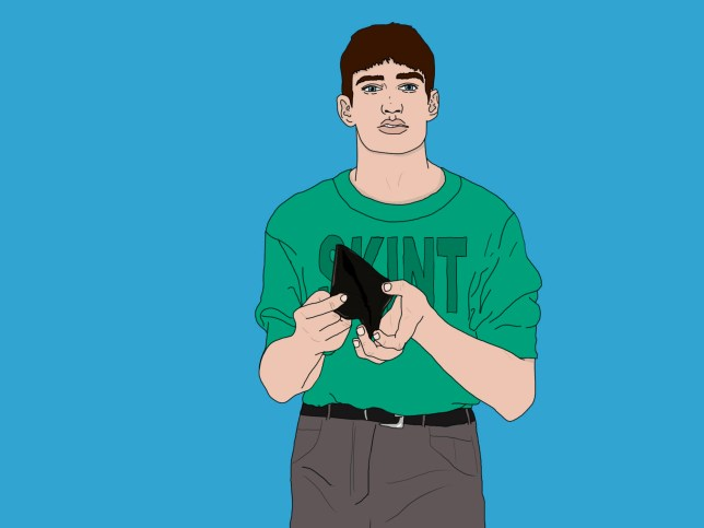 An illustration of a man wearing a T-shirt that says 'skint' and looking into his empty wallet