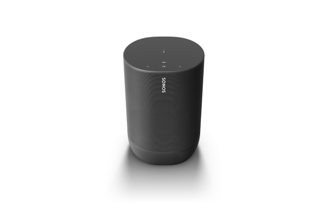Touch-sensitive controls are on top of the device along with microphones for voice commands (Sonos)
